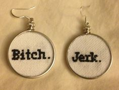 Supernatural Sam and Dean inspired Bitch. Jerk. cross stitched earrings on Etsy, $20.00