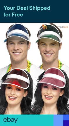 Adults 1980s Sun Visor Mens Ladies Neon Fancy Dress Accessory Womens 80s  Workout b59d3081e025