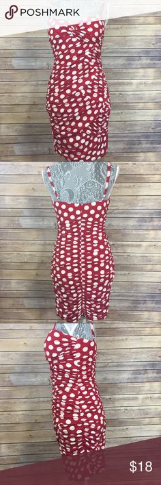 "Fredericks Hollywood Red/White Polka Dot Dress M Red with White Polka Dots. Rouching Fitted detail. Polyester and Spandex. Lining is polyester. Machine wash cold. Bust 24"" Waist 22"" Length 28"" Adjustable straps.    (A) Frederick's of Hollywood Dresses"