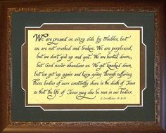 Click here to purchase this Don't give up scripture verse from Corinthians. Uplifting and motivating. Bible verse for christian matted and framed. A comforting scripture ready to hang. 2 Corinth 4 We are pressed on every side https://www.etsy.com/listing/222493852/corinthians-bible-verse-for-christian?ref=shop_home_active_1&ga_search_query=pressed