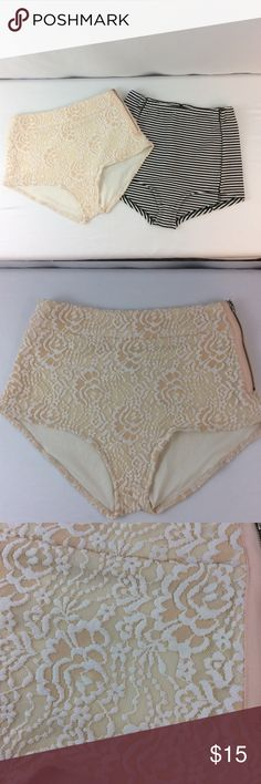 """BUNDLE NWOT Urban Outfitters High Waist Spanks(M1) NWOT! This is what everyone has been asking for BUNDLES of these little cuties! So here u go ladies this listing is for a both pairs shown black stripe/cream floral! These go perfect under sheer clothing for that perfect summer look😍 waist 13"""" Rise 8-10""""-zipper on side OR back depending on which one Urban Outfitters Other"""