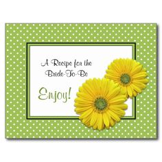 Gerbera Daisy Recipe Card for the Bride to Be Post Card