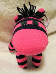 Black and Hot Pink Sock Zebra