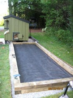 custom chicken run build: landscape cloth over the gravel bed