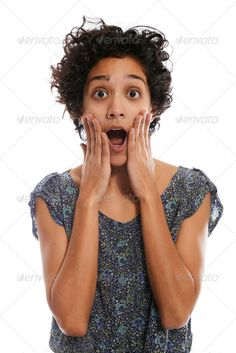 portrait of shocked hispanic woman with mouth open ...  20s, 30s, Head And Shoulders, Studio Shot, afraid, amazed, amazement, astonished, astonishment, background, bad news, brunette, casual, concept, curly, emotion, expression, face, facial, fear, female, funny, gesture, girl, gossip, hand, hispanic, isolated, latin, mouth, news, one, oops, open, panic, people, person, portrait, reaction, shock, shocked, speechless, student, surprise, surprised, teen, white, white background, woman, young