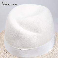 Style Autumn Spring Australia Pure Wool White Fedora Hat Fashion Elegant Woman Lady Derby Hats Like and Share if you agree! #shop #beauty #Woman's fashion #Products #Hat