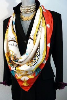 Authentic Vintage Hermes Silk Scarf Plumes Et Grelots Jacquard Red and White