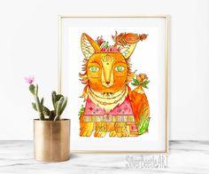 Nursery Print Woodland Nursery Animal Art Fox от SilverBeetleArt