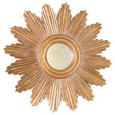 Worlds Away Ludwig Starburst Gold Leaf Mirror