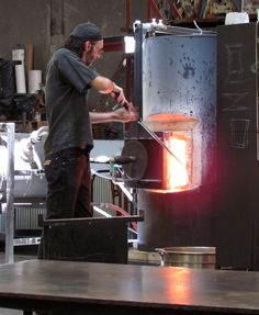 Bay Area Glass Artist Tim Heermann at the Crucible Glassblowing Masterclass with Ed Schmid and Katrina Hude
