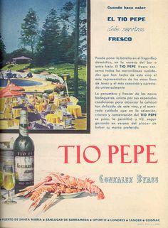 """""""Cuando hace calor el Tio Pepe debe servirse fresco"""". González Byass. Dibujo de bosque y piscina."""