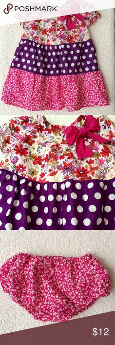 Cute Floral Dress by Children's Place Flowers and purple polka dots, decorated with a big magenta bow. Made with Love, by PLACE. Children's Place Dresses Casual