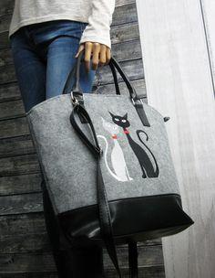 FELT BAG CAT - Women Felt Bag - Felt Tote Bag - Felt Handbag Purse - Cats design by BPStudioDesign on Etsy