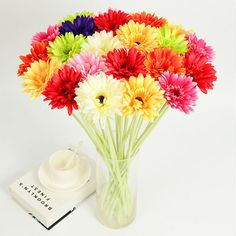 Beautiful 6 Colors Artificial Gerbera Decorative Flowers For Dining Room Home Decoration Artificial Decorative Flowers