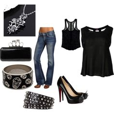 My edgy outfit I made on Polyvore.. Totally my style!