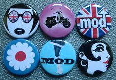 """6 x """"MOD"""" SIXTIES RETRO BADGES PINS BUTTONS (1inch/25mm) FANCY DRESS PACK 1960s 