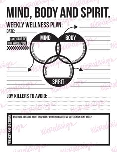 Youre body, mind, and spirit, so this week - plan to take care of all three! This fun and mindful worksheet helps you plan out your week in a