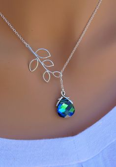 Peacock, Aqua Sphinx and Branch sterling silver Swarovski Briolette necklace. Bridal. Wedding. Bridesmaids Gift.. $32.00, via Etsy.