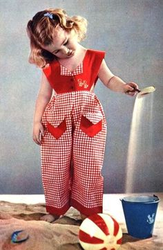 Aw honey, no sand in the house! Well, it's ok, she's wearing gingham! Vintage Girls, Vintage Children, Red Gingham, Gingham Check, Rockabilly Baby, Brown Eyed Girls, Little Girl Dresses, Vintage Style Outfits, American Girl