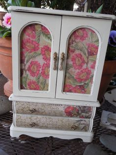 White with English Rose hand painted jewelry box by Eweniques, $109.00