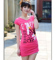 Thickened Retro Letter Printed T-shirt Rose - $24.98