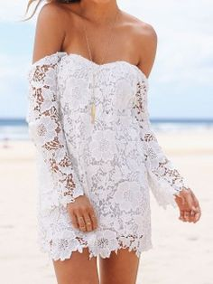 Shop White Cut Out Back Off Shoulder Crochet Lace Mini Dress from choies.com .Free shipping Worldwide.$19.9
