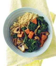 Quinoa With Mushrooms, Kale, and Sweet Potatoes recipe from realsimple.com #myplate #protein #vegetables #vegetarian