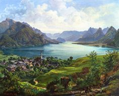 Friedrich Loos - Lake Wolfgang with View of St. Gilgen #austria