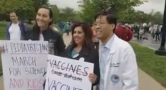 Dr. Senator Pan poses with two pediatricians who were marching for science in Washington D.C. - Still from PANdemic of Lies at the March for Science Link to my reply article to this terrible video attacking a hero of the medial science community.