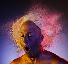 "Tim Tadder's ""Water Wigs"": water shot at bald men, with interesting lighting,"