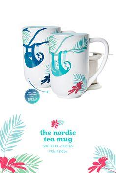 When you add hot water to this mug, the sloths change colour and a pretty design appears. Tea Mugs, Coffee Mugs, Davids Tea, Change Colour, Herbal Teas, Tea Infuser, How To Make Tea, Tea Accessories, My Tea