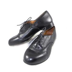 Acropolis vintage black leather lace-up brogue menswear almond toe shoes - 8.5 9 M US / 7 UK Made in Greece