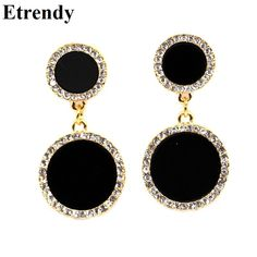 Simple Rhinestone Black Drop Earrings For Women Bijoux 2016 New Gold Plated Jewelry Cute Gift
