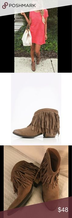 Adorable Fringe Boots Perfect for the boho gal!! Adorable brown fringe boots comfortable and so cute! Great condition, stock photos are for styling purposes only!! Shoes Ankle Boots & Booties