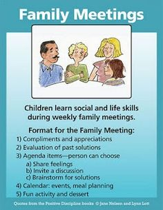 Family meetings - I will be starting family meetings this weekend!