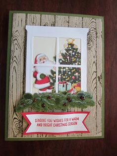 by Carol: Festive Fireplace, Hardwood, Home for Christmas dsp, Hearth & Home Thinlits, Festive Fireside framelits - all from Stampin' Up!