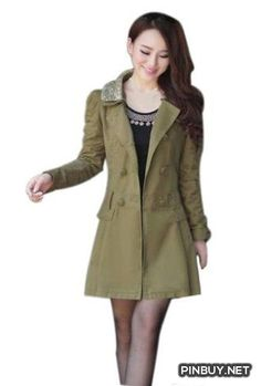 Shineray Womens Paillette Lapel Double-breasted Korean Coat Army 10 Shineray - PinBuy