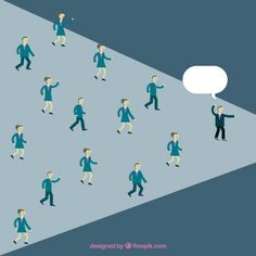 Entrepreneurs Following Leader Free Vector