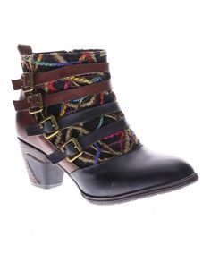 Take a look at this L'Artiste by Spring Step Black & Burgundy Redding Leather Bootie today!