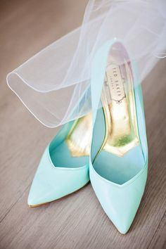 "Starting with mint bridal #pumps —a nice twist on the ""something blue"" wedding shoe trend. {Urban Safari Photography} @tedbaker"
