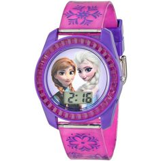 Disney Kids' FZN3598 Frozen Anna and Elsa Digital Watch with Purple... ($9.99) ❤ liked on Polyvore featuring jewelry, watches, accessories, frozen, disney watches, digital watch, purple jewellery, snowflake jewelry and disney jewelry