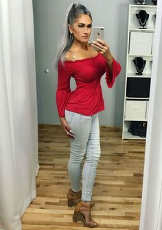Great Deals on Slimming Tops! Long gray hair, natural gray hair, over skinny jeans, red shirt Over 40 Outfits, Jean Outfits, Walmart Online, Long Gray Hair, Aging Gracefully, Red Shirt, Great Deals, What To Wear, Skinny Jeans