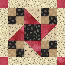 Make Friendship Star quilt blocks with four-patch units at their corners, and surrounded by sashing and cornerstones.