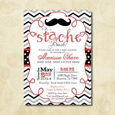 Stache Bash Baby Shower Invitation Chevron, mustache birthday invitation, by FUNDigitalDesigns