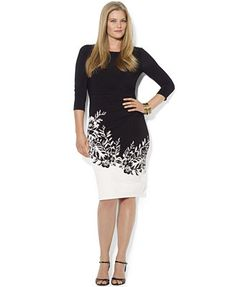 79e465bc47 Lauren Ralph Lauren Plus Size Three-Quarter-Sleeve Border-Print Dress Plus  Size