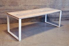 CAFE // picnic table inspiration - Dining table white powder coat steel base, but maybe do an X or A frame base