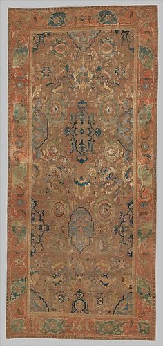 Object Name: Carpet Date: 17th century Geography: Iran Culture: Islamic Medium: Silk (warp, weft, and pile), metal wrapped thread; asymmetrically knotted pile, brocaded