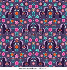 Seamless Matryoshka folklore pony illustration retro horse pattern background in vector  - stock vector