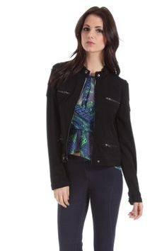 Romeo and Juliet Couture Casual Faux Pocket Half Coat in Black - http://cheune.com/a/35025960439816117