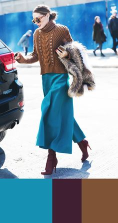 Winter outfit colour combinations you should try now: Make like Olivia Palermo in a caramel-coloured sweater, teal culottes and burgundy boots. Colour Combinations Fashion, Color Combinations For Clothes, Fashion Colours, Colorful Fashion, Color Combos, Trendy Fashion, Girl Fashion, Burgundy Outfit, Burgundy Boots